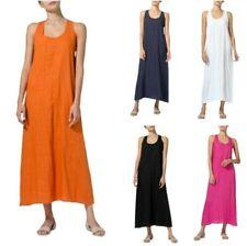 Womens Cotton Linen Solid Loose Sleeveless Dress U Neck Casual Summer Robe 3XL D