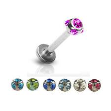 1,2mm Labret Ohr Lippen Piercing Schmuck mit 5 Kristallen L:6-10mm Mehrfarbig
