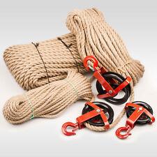 SET: JUTESEIL + UMLENKROLLE mit Haken Tauwerk Seilwinde Seilzug Seil Seilrolle