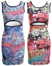 Nuevas señoras sin mangas Graffiti Impreso Mid De Corte Para Mujer Vestido Ajustado