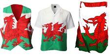 New Wales Cymru Dragon Flag Rugby Football Supporter Waistcoat/Shirt/Kilt