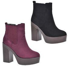 S345 - Ladies Chelsea Chunky Platform Sole Block Heel Ankle Boots - UK 3 - 8