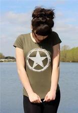 armée américaine WWII MILITAIRE blanc étoile Rétro M A S H Dames Vintage T-shirt