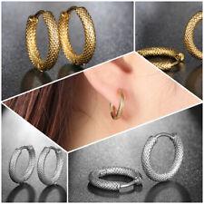 Stainless Steel Grooved Grids Small Hoop Huggie Earrings for Women Men