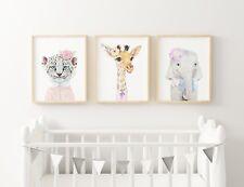 Nursery Wall Art Prints Jungle Watercolour floral baby girl decor set of three