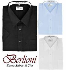 BERLIONI MEN'S DRESS SHIRT BASIC SHORT SLEEVE BUTTON DOWN SOLID ALL SIZES