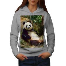 Wellcoda Panda Cute Photo Womens Hoodie, Animal Casual Hooded Sweatshirt