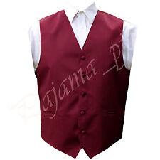 New Men Burgundy Satin Solid Vest Only Waistcoat Tuxedo Suit Wedding Prom Party