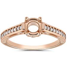 1/5ct Diamond 14k Rose Gold Engagement Ring Setting Vintage Antique Art Deco