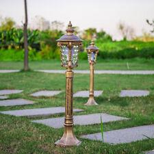 Antique Style Metal Lantern Glass Outdoor Garden Lawn Lights in Black/Brass Tall