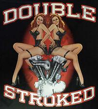 T-shirt #418 DOUBLE Stroke, pin up Biker Rockabilly Hot Rod
