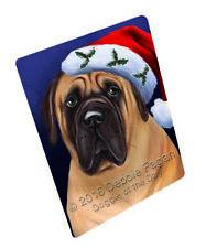 Christmas Bullmastiff Dog Holiday Santa Hat Woven Throw Sherpa Blanket T05