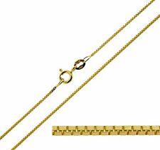 """Chapado en Oro 9ct plata esterlina 16 18 20 22 24 26 28 30"""" 1mm Collar Cadena De Caja"""