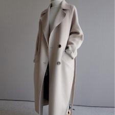 Women's Cashmere Wool Blend Lapel Belt Formal Outwear Maxi Long Coat New Outwear
