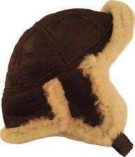 Real Sheepskin Leather Aviator B52 Trapper Hat Brown/Cream Fur Unisex #3H