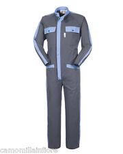 Tuta Intera Coreana da Lavoro Meccanico Officina Gommista Grigia Azzurra A41307