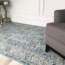 Angoissé Bleu Oriental Tapis Décoratif Délavé Médaillon Traditionnel