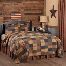 VHC Primitive Quilt Set Patriotic Patch Bedding Red Cotton Patchwork