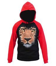 Men's Huge Leopard Face Black Red Raglan Hoodie Wild Animal Zoo Jungle Sweater