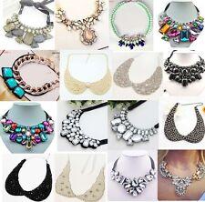 Fashion Charm Jewelry Crystal Chunky Statement Bib Collar Chain Choker Necklace