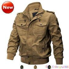Mens Military Jacket Army Flight Coats Multi-Pocket Bomber Jackets Cargo Outwear