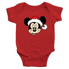 Mickey Mouse Santa Hat Christmas Holiday Fun Infant Baby Rib Bodysuit Romper