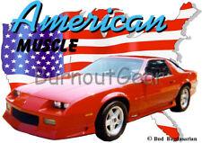 1991 Red Chevy Camaro Custom Hot Rod USA T-Shirt 91 Muscle Car Tee's