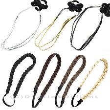 PLAITED HAIR BAND HAIR PLAIT HEADBAND PLAITED HEADWRAP HAIR ELASTIC SINGLE TWIN
