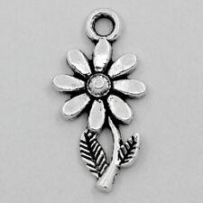 Wholesale Lots Charm Pendants Sunflower Silver Tone 19mmx10mm