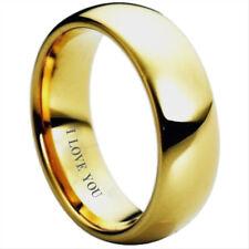"""Carburo de Tungsteno de nuevo tono oro para hombre anillo de bodas anillo grabado """"te amo"""""""