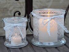 Hanging Glass Lantern Lace print & Ribbon Vintage Wedding Candle Holder T Light