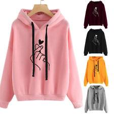 Women Long Sleeve Sweater Hoodies Sweatshirt Jumper Print Hooded Pullover Coat A