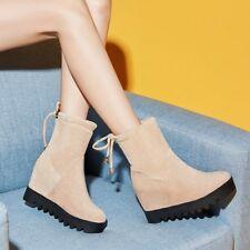 Women Hidden Wedge High Heel Ankle Boots Platform Lace up Round Toe Shoe Booties