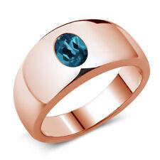 1.30 Ct Oval London Blue Topaz 14K Rose Gold Men's Ring