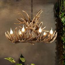 Vintage Brown/Coffee Resin Faux Antler Horn Chandelier Pendant Light 4/6/8 Lamps