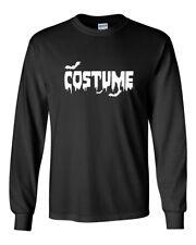 Mens Easy Costume T-Shirt Halloween Shirt Tee Scary Spooky Bat Blood Long Sleeve