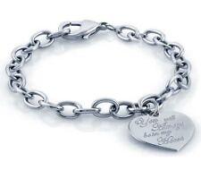 Bracciale argento sterling 925 catena con cuore scritta rodiato gioielli donna