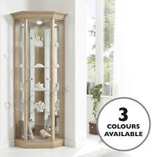HOME 1 Door Glass Corner Display Cabinet - Pelmet In Oak, Dark Oak or Mahogany