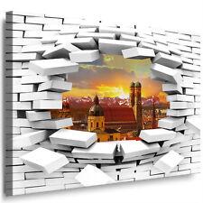 München Leinwandbild Deko Mauer-loch Wandbild XXL Bild auf Leinwand Kunstdruck