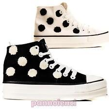 Sneakers alte donna pois a contrasto scarpe stringate sportive 2013-010