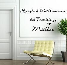 Wandtattoo Wohnzimmer  Herzlich Willkommen mit Z.B.Familiennamen 23456n