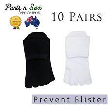 10 Pairs Mens Womens Toe Socks Cotton Ankle Five Finger Socks Black White