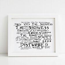 Disturbed Poster, The Sickness, Framed Original Art, Album Print Lyrics Gift