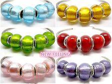 Fashion Full Foil Lampwork Glass Big Hole Beads Fit European Charm Bracelet