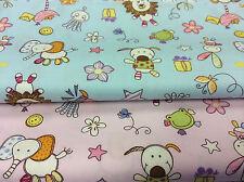 100% Cotton Poplin Fabric - Childrens Animals Design