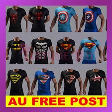 Mens Superhero Superman Batman Spiderman Tshirt Gym Fitness Training Top Costume