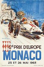 REPRO DECO AFFICHE GP EUROPE MONACO MAI 1963 F1 COURSE SUR PAPIER 310 OU 190 GRS