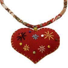 COLLIER pendentif idée cadeau tissu coton GROS COEUR ROUGE brodé étoiles perles