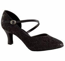 So Danca Women's BL504 Ballroom Latin Salsa Dance Shoes Black Sparkle Rhapaela