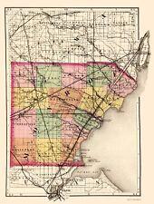Old County Map - Monroe Michigan - Tackabury 1873 - 23 x 30.50